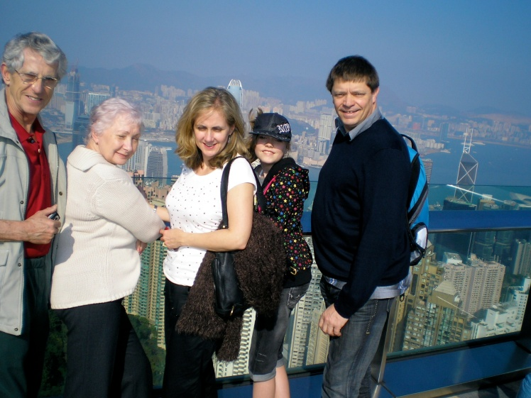 Family up Victoria Peak